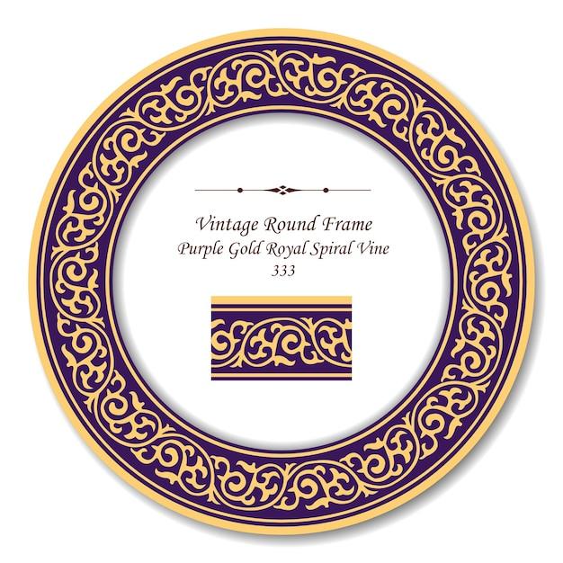 パープルゴールドロイヤルスパイラルつるのヴィンテージラウンドレトロなフレーム Premiumベクター
