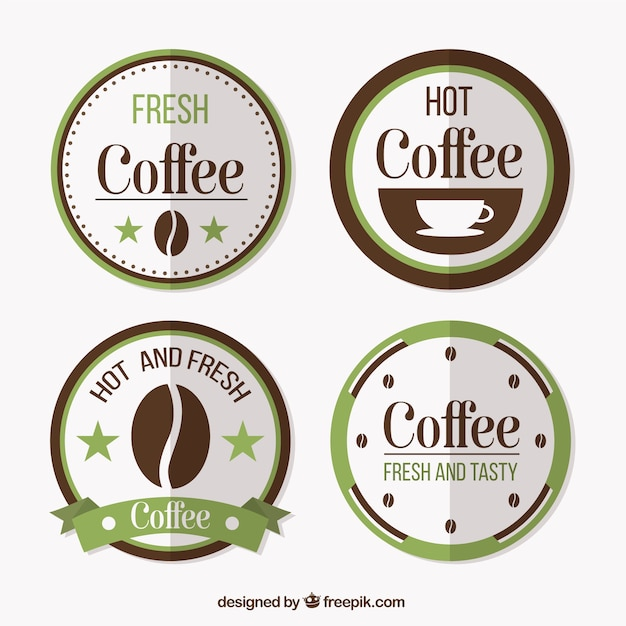 Vintage rounded coffee shop labels pack