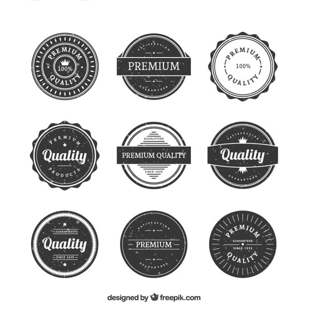 Vintage rounded premium quality badge collection in grunge style Free Vector