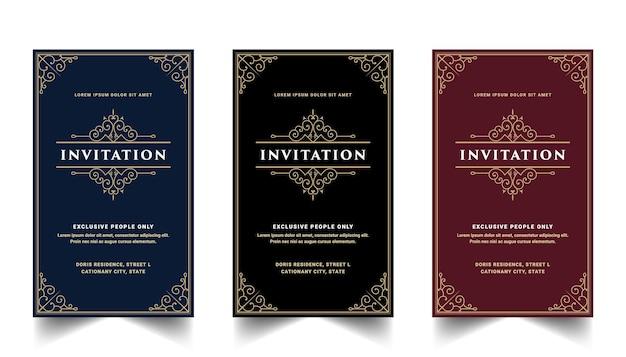 결혼식 기념일 생일 파티 축하 꽃 소용돌이 장식 장식 카드 서식 파일에 대 한 초대 카드의 빈티지 왕실과 고급 세트 프리미엄 벡터
