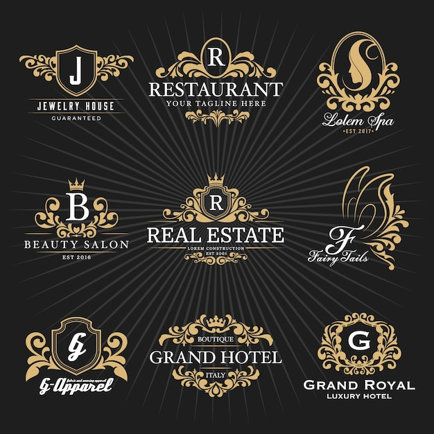 Vintage royal heraldic monogram and frame logo decorative design Premium Vector