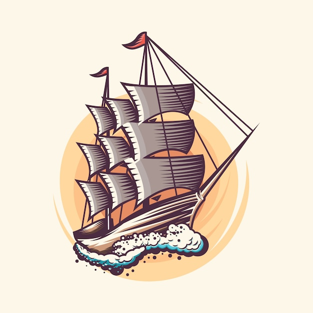 Vintage sailing ship illustration design Premium Vector