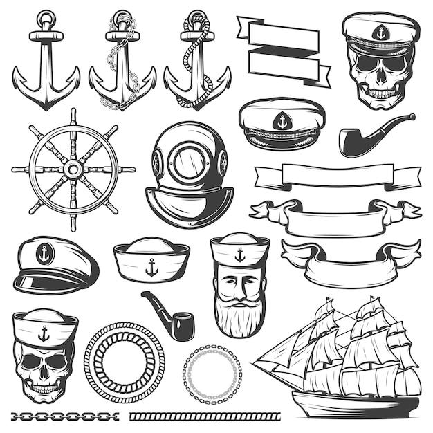 Vintage sailor naval set Free Vector