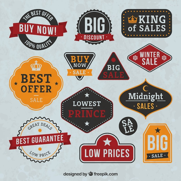 Vintage sale badges collection