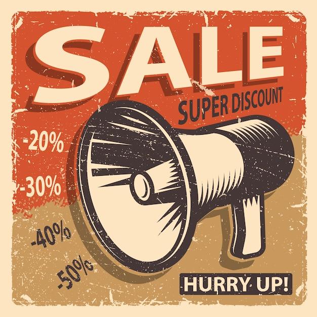 Vintage sale poster on a grange background Free Vector
