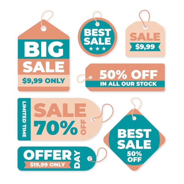 Vintage sale tag collection Free Vector