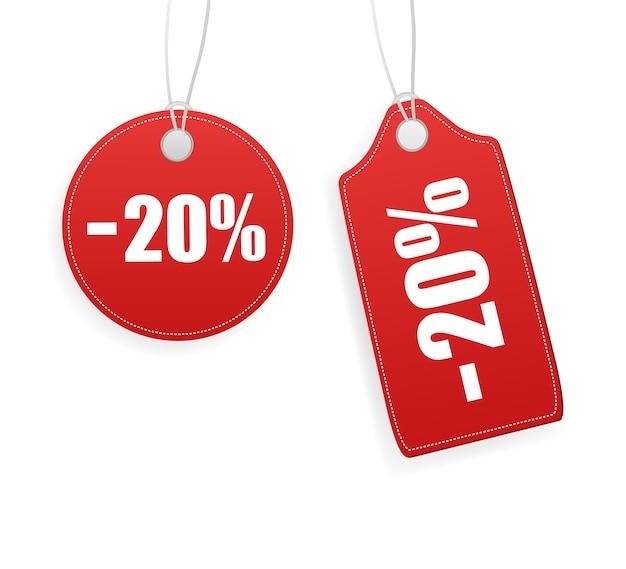 ヴィンテージ販売タグ、どんな目的にも最適。白い背景の赤い販売タグ。空白のラベル。 Premiumベクター