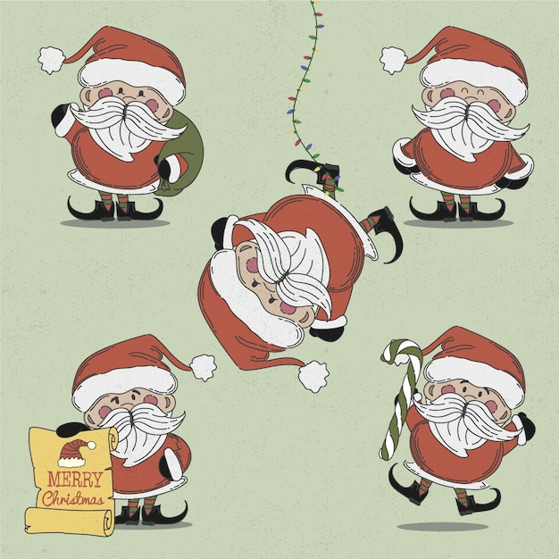 Vintage santa claus character collection Free Vector