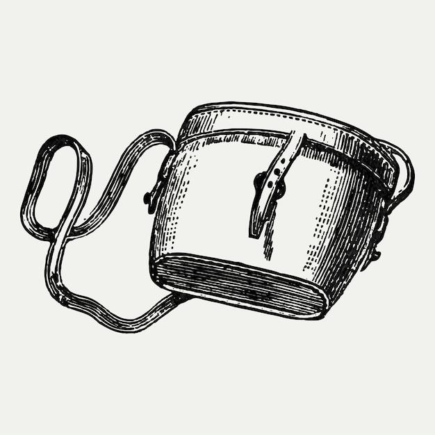 Vintage satchel bag illustration Free Vector