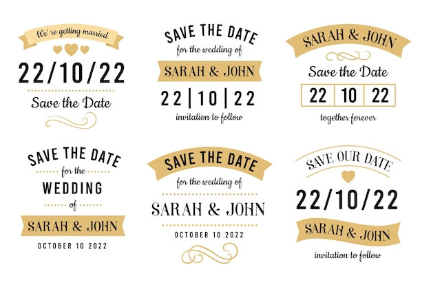Vintage save the date lettering collection Free Vector