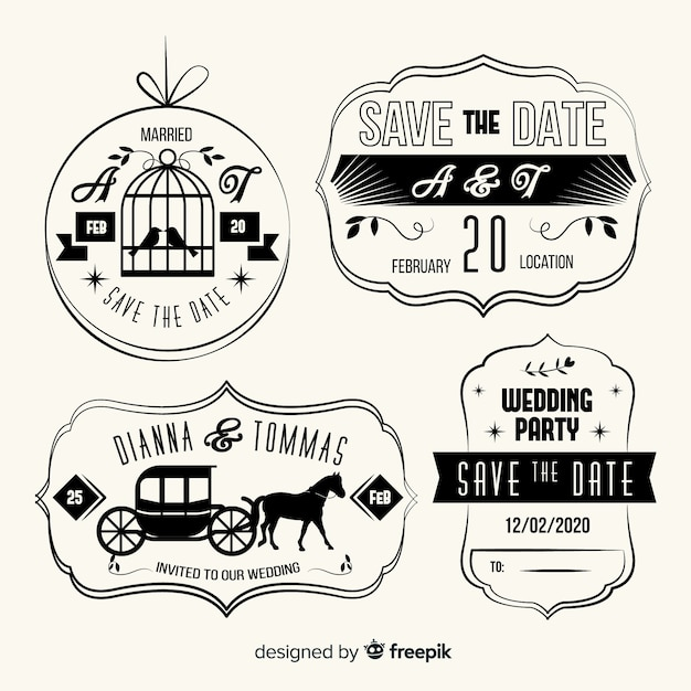 Vintage save the date lettering pack Free Vector