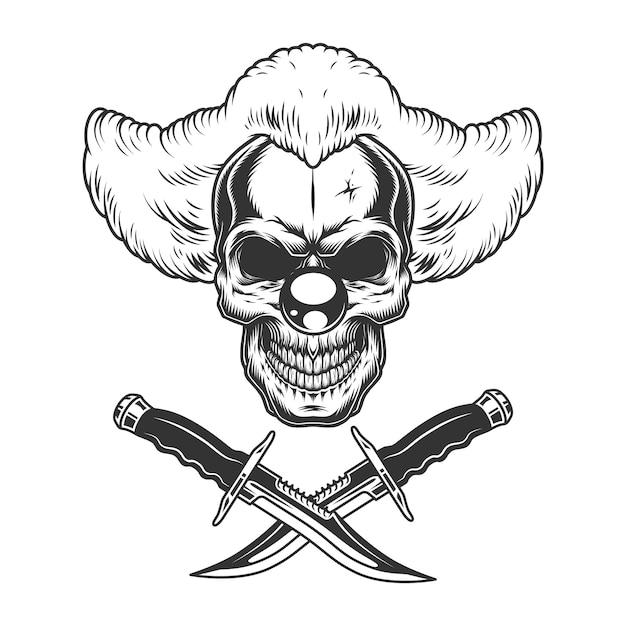 Vintage scary clown skull Free Vector