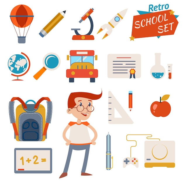 Vintage school icon set graphic designs isolato Vettore gratuito