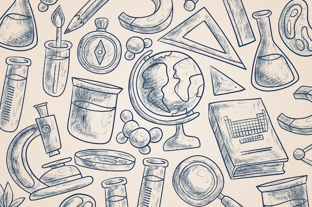 ビンテージ科学教育の背景スタイル 無料ベクター