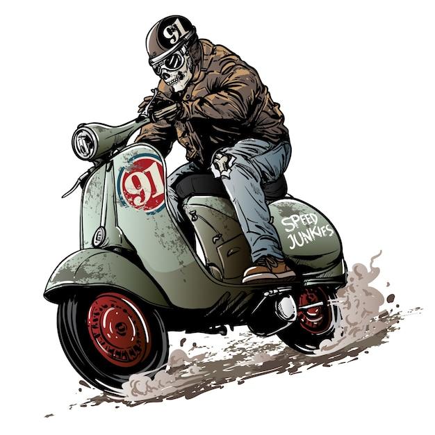 Vintage scooter race Premium Vector