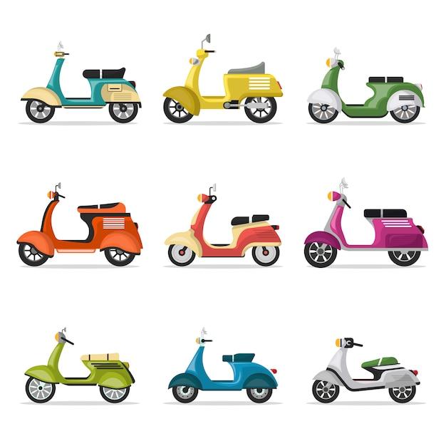 Набор старинных скутеров на белом Premium векторы