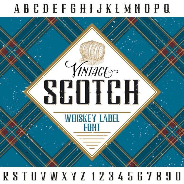 알코올 음료의 디자인과 장식을위한 빈티지 스카치 포스터 무료 벡터