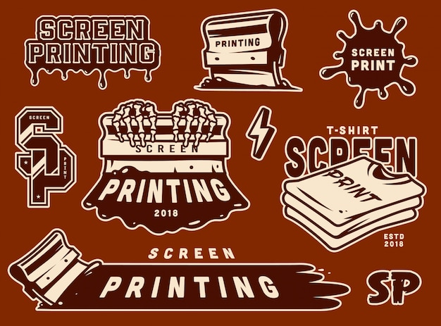 Vintage screen printing badges set Free Vector