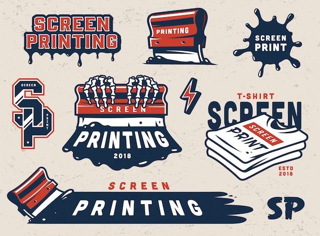 Vintage screen printing badges set Free Vector