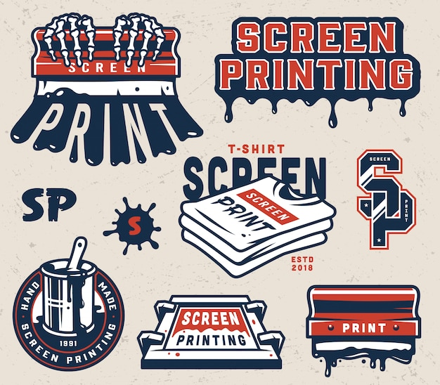 Vintage screen printing elements collection Free Vector