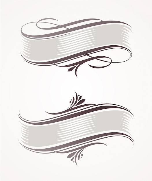Vintage scroll banners with calligraphic elements Premium Vector