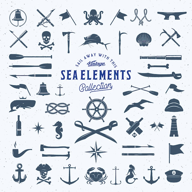 Vintage sea or nautical icon elements set with shabby texture. Premium Vector