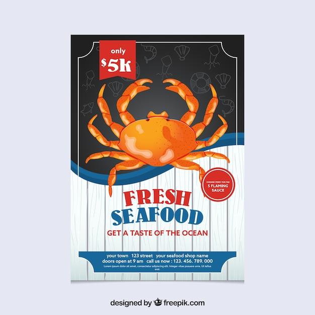 Vintage seafood brochure Free Vector