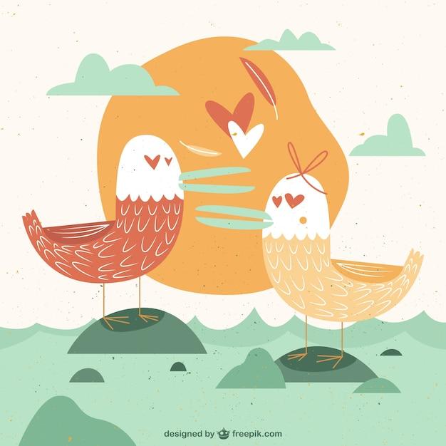 Vintage seagulls in love