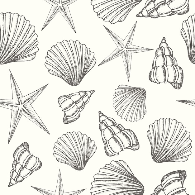 Vintage seamless background with hand drawn shells Premium Vector