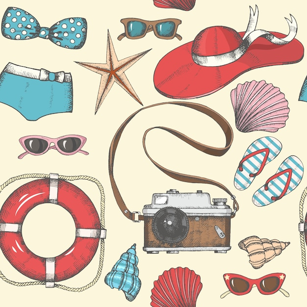Vintage seamless background with hand drawn summer objects Premium Vector