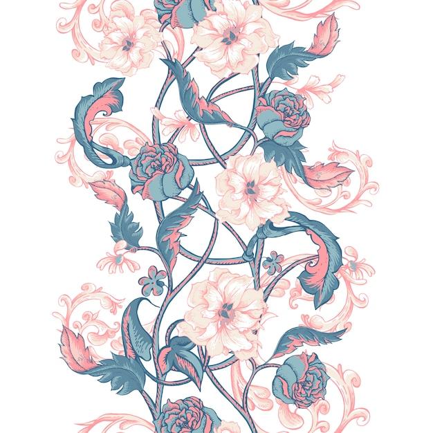 咲くモクレン、バラ、小枝とビンテージのシームレスな境界線 Premiumベクター