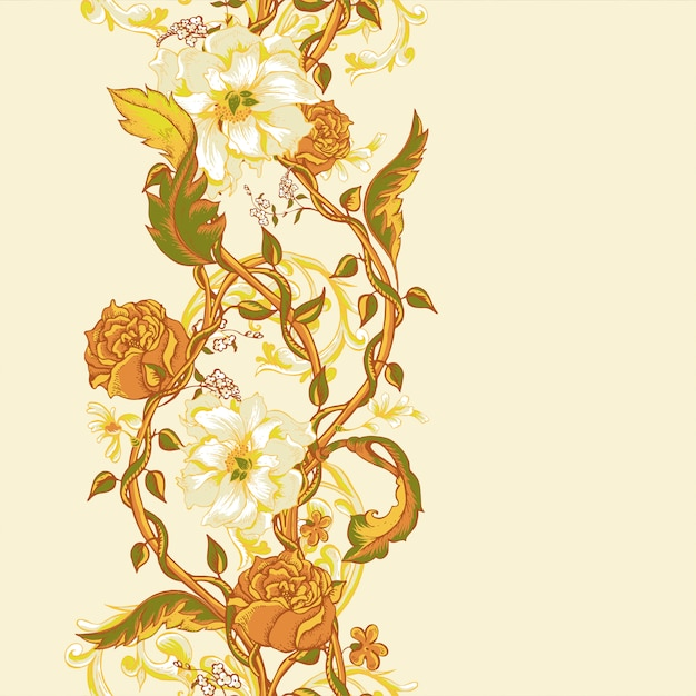 Vintage seamless border with blooming magnolias, roses and twigs Premium Vector