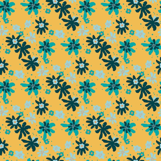 임의의 파란 꽃 장식으로 빈티지 원활한 낙서 패턴입니다. 오렌지 배경. 프리미엄 벡터