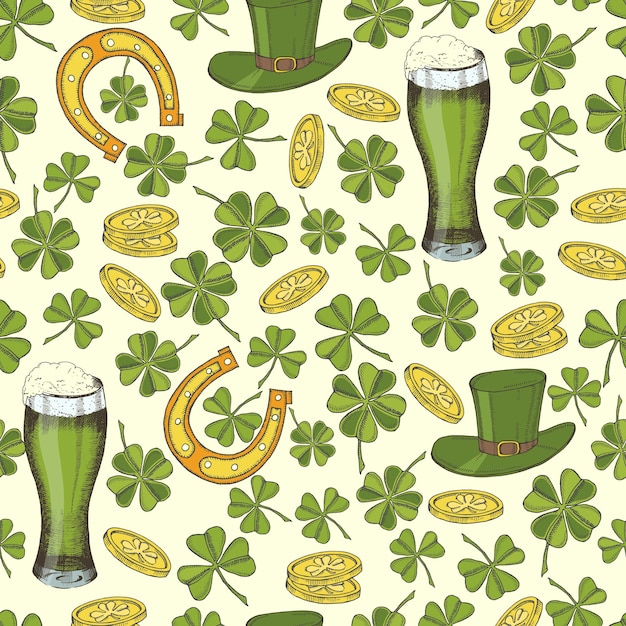 Vintage seamless pattern for st patrick's day. st. patrick's hat, horseshoe, four-leaf clover, green beer and gold coins. Premium Vector