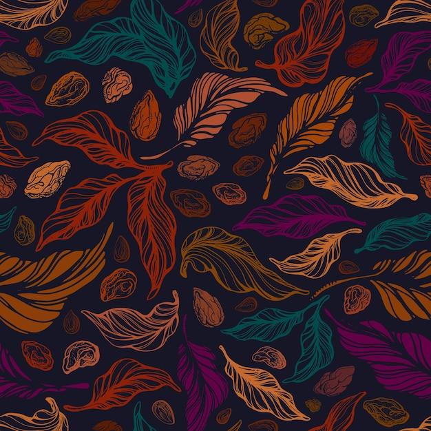 Урожай бесшовные модели текстуры листвы ручной обращается искусство ореховый лист Premium векторы