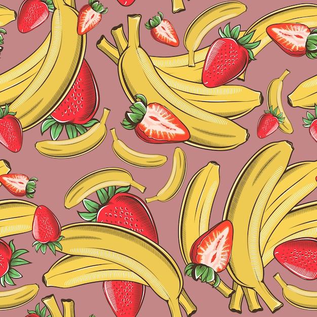 バナナとイチゴのヴィンテージのシームレスなパターン。 Premiumベクター