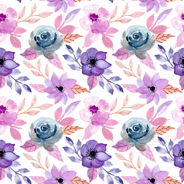 Vintage seamless pattern with floral watercolor Premium Vector