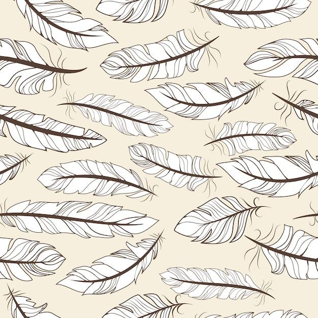 手描きの羽のベクトル図とヴィンテージのシームレスなパターン 無料ベクター