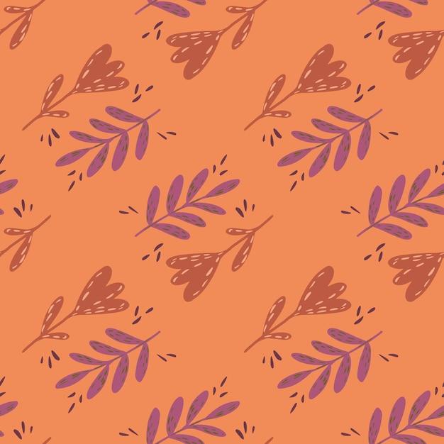 Урожай бесшовные модели с рисованной листья ветки и цветочные элементы на оранжевом фоне. Premium векторы