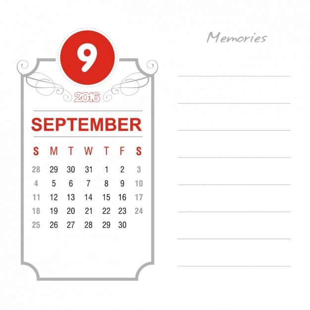 Vintage September Calendar 2016