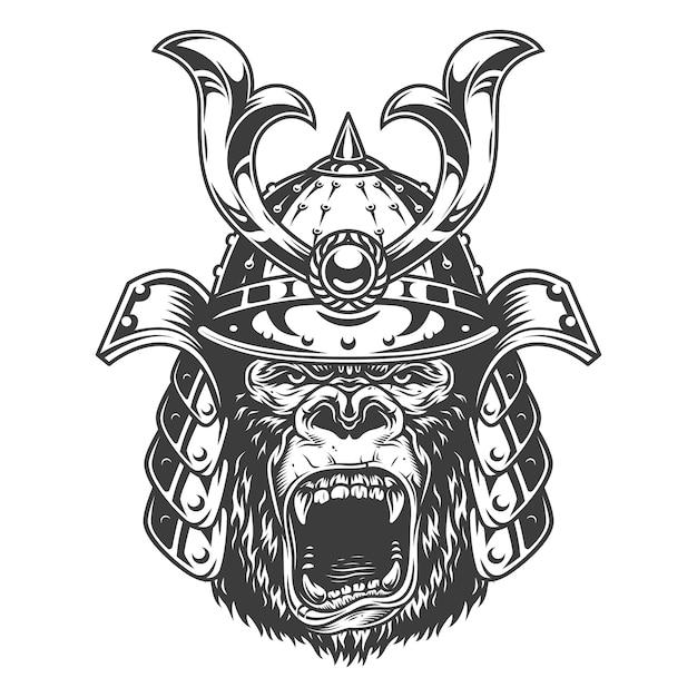 Vintage serious gorilla warrior in samurai helmet in monochrome style   illustration Free Vector