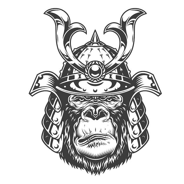 Vintage serious gorilla warrior Free Vector