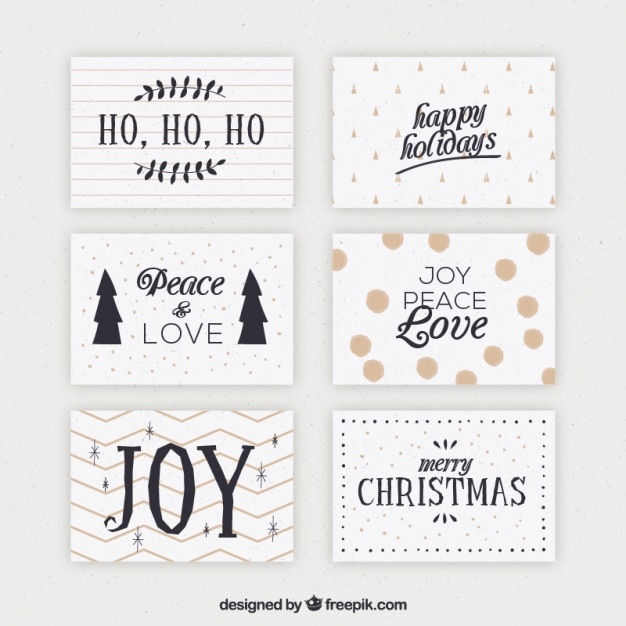 Vintage Set Of Christmas Cards Free Vector