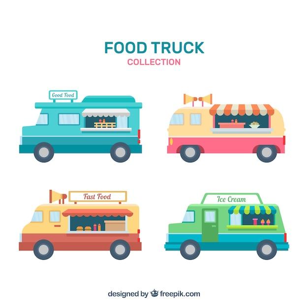 Vintage set of flat food trucks