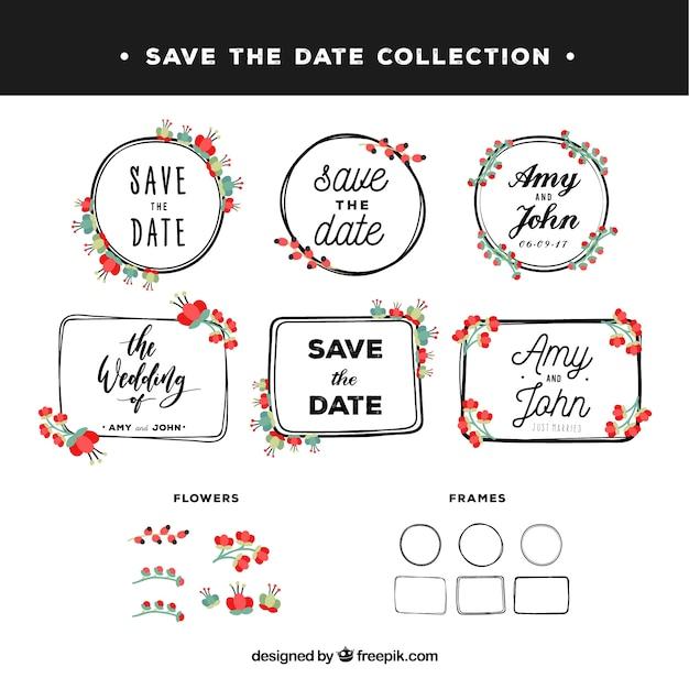 Vintage set of floral wedding labels