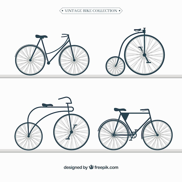 Vintage set of retro bicycles