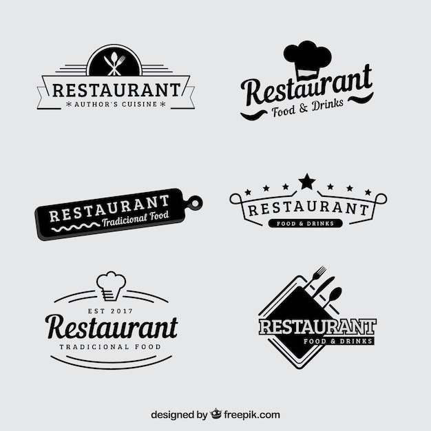Vintage set of retro restaurant logos Free Vector