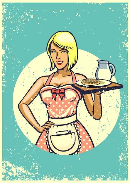 Vintage sexy waitress presenting breakfast Premium Vector