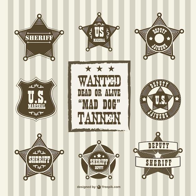 Vintage sheriff deputy badges Free Vector
