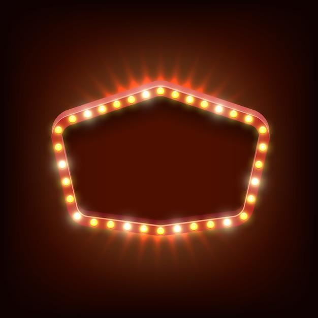 Винтаж сияющий свет вектор баннер. баннер ретро рамка, яркий и реалистичный, шоу и блестящая иллюстрация Бесплатные векторы